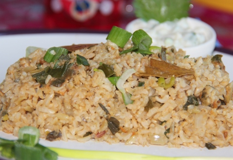 Spring onion fried rice