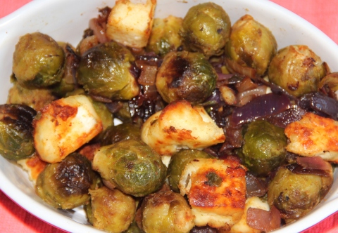 Brussel Sprouts and Tofu Roasted