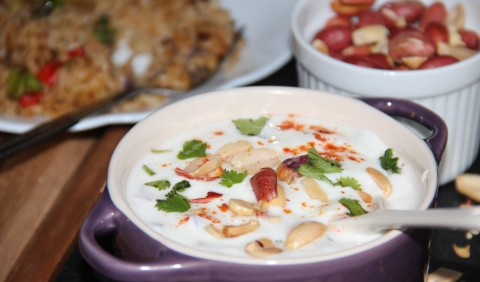 Roasted Peanut Cucumber Raita