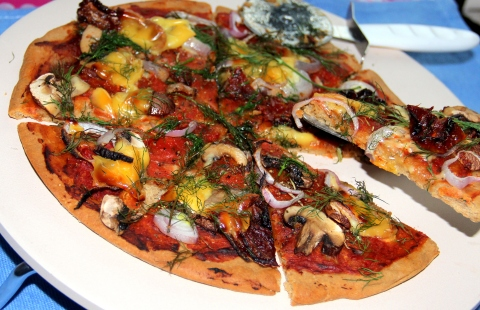 Oats Pizza with Mushroom