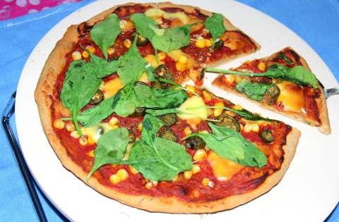 Oats Pizza with Spinach