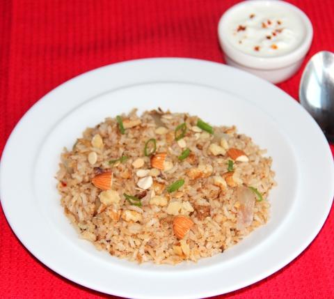 Nuts and Flaxseed masala rice