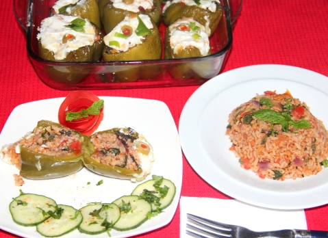 Tomato mint rice in stuffed capsicum