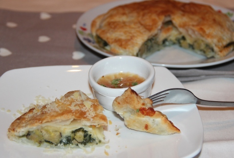 Pastry spinach and plantain