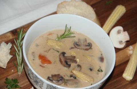 Mushroom babycorn soup2